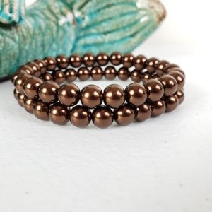 3/$15 Chocolate Brown Czech Glass Pearl Bracelet